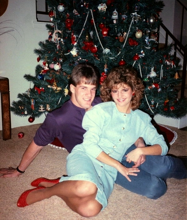Ringing in 1987--perm, denim dress, shoulder pads and all!