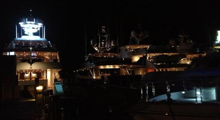 yachts at night