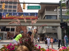 One of the People Mover cars pulls into the Greektown Station. It's an elevated loop through the city.