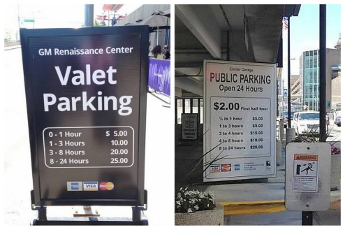 Hey Boston folks, how 'bout these parking prices! I couldn't resist! These are near RiverWalk and the Renaissance Center.