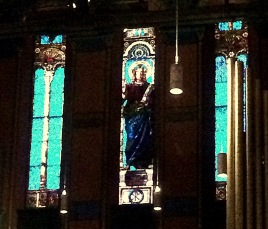 John LeFarge stained glass tryptych--tough to get a good photo of this, trust me, it's stunning!