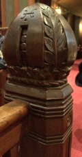 """Similar but different"" finials on the pews."