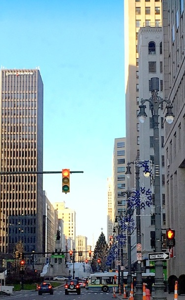 Driving up Woodward Ave. toward Campus Martius and The Tree, ice rink, carriage rides...all in The D!